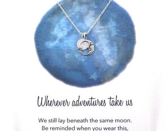 Moon necklace, silver crescent + Monogram . Meaningful farewell gift travellers gift idea, for friends / girlfriend. Silver moon necklace