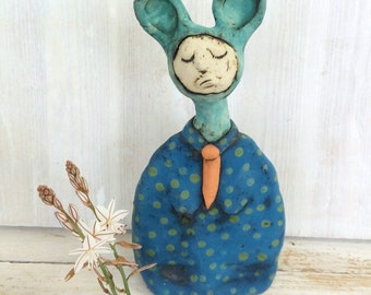 Ceramic sculpture, clay figurine, one of a kind, art doll, clay figures, sculptures, unique gift, female figure, clay doll, modern art.