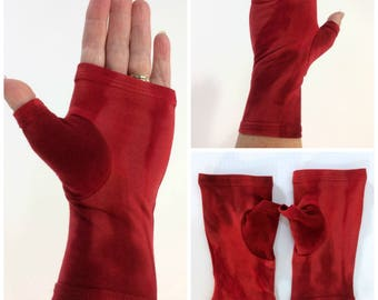 Red tie dye fingerless gloves, wrist warmers in bamboo blend.