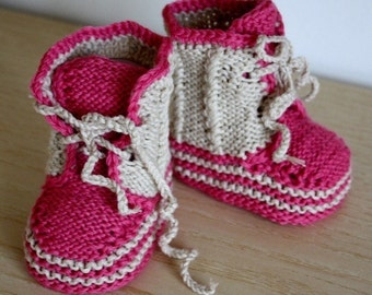 Knitting PATTERN (pdf file) Baby Twist Booties (0-6/6-12 months)