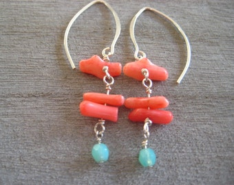 Coral Earrings, Sterling Silver Earrings, Beach Jewelry, Pink Earrings E26.1