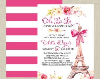 Ooh La La, Parisian Baby Shower Printable Invitation---French Baby Shower, Feminine, Flowers, Pink, Bow, Eiffel Tower, Stripes, Floral, Boho