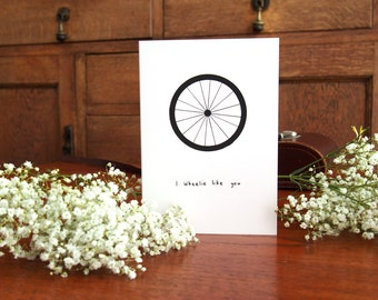I Wheelie Like You Card // Cute Bike Pun Card // Cyclist Love Card // Valentine's Day Card // Anniversary Card