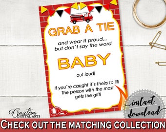 Grab A Tie Baby Shower Grab A Tie Fireman Baby Shower Grab A Tie Red Yellow Baby Shower Fireman Grab A Tie - LUWX6
