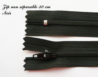 1 simple not separable 30 cm zipper: black