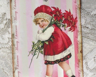 Christmas Gift Tag , Holiday Hang Tag, Noel Gift Tag, Christmas Child Red Tag