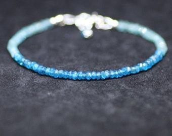 Natural Neon Blue and Ocean Green Apatite Stacking Bracelet Sterling Silver , Gemini Birthstone , Wedding , Bridal  , Anniversary Gift OOAK