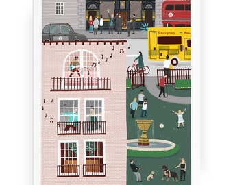 London sounds of the city illustrated print - london art london map art city art london print city print city illustration london drawing