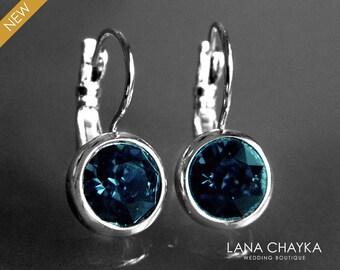 Navy Blue Silver Earrings Swarovski Montana Blue Rhinestone Earrings Blue Crystal Leverback Earrings Bridal Party Jewelry Wedding Earrings