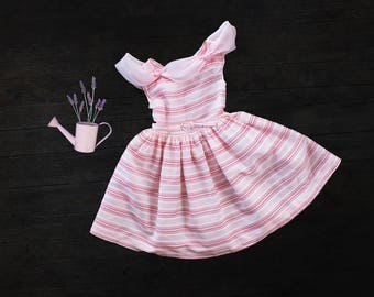 Vintage 50s girls pink party dress, special occasion girls dress, pink stripes, bow chiffon, 6 T