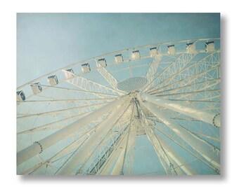 Ferris Wheel Photograph, Carnival Print, Ferris Wheel Print, Seattle Great Wheel, Nursery Decor, White and Blue Teal