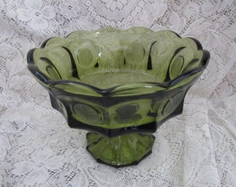 Vintage   Fostoria  Green Coin Glass  Compote