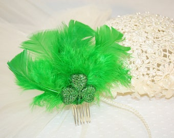 St Patricks Day Green Feather Hair Comb Feather and Shamrock Hair Comb