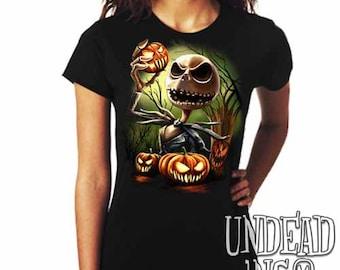 Tim Burton Nightmare Before Christmas Pumpkin King Jack Skellington  - Ladies T Shirt