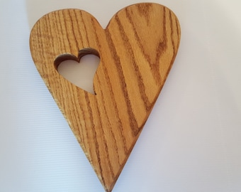 Heart in Red Oak Wooden Heart Wall Hanging Wood Carving By Barry at Celticsymbolstudio