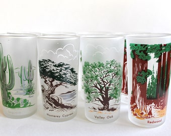 Lot of 8 Vintage 1950's Libbey Frosted Tree Glass Tumblers! Mid Century Barware!