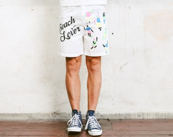 80s White Beach Shorts . Vintage 90s Abstract Print Surfer Shorts Board Shorts Bold Men Swimwear Beachwear . size Small