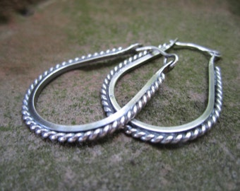 Twisted Sterling Silver Stirrup Hoop Earrings