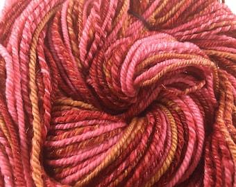 Handspun Yarn 168 Yards DK Weight Merino Wool Silk Nylon Blend  OOAK