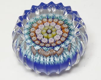 Vintage Signed Perthshire Close Packed Concentric Millefiori Cane Fluted Door Knob Art Glass Paperweight Perthshire Art Glass Paperweight