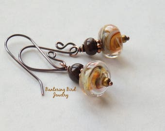 Golden Lampwork Glass Bead Earrings, Lemon Yellow Swirls with Brown Stone, Spring Summer Jewelry