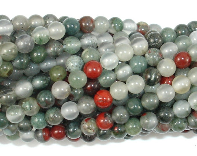African Bloodstone, 4mm (4.5 mm) Round Beads, 15.5 Inch, Full strand, Approx 95 beads, Hole 0.8 mm (124054004)