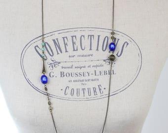 Long necklace Sautoir Vintage Mint green, bright blue & brass #1571