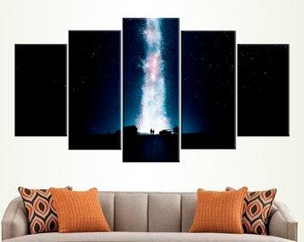 Interstellar Poster Space Wall Art Christopher Nolan Science Fiction 5 Panels Wall Art Movie Room Decor Astronaut Photo Large Canvas Art