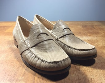 Vintage Cole Haan Loafers - New Dead Stock - 1990s 90s Slip On Penny Loafers - Beige Snake Skin Leather - Women's Size 8.5 - UK 6 - Euro 39