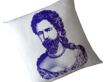 Barbu Dame ou homme en Drag sérigraphié coton toile throw pillow 18 pouce carré violet