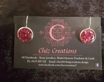 Handmade Resin Glitter Stud Earrings