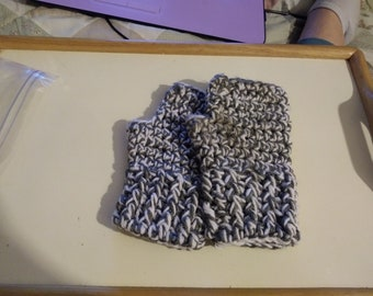 Fingerless gloves, grey and white 2 strand winter gloves ready to ship No 250
