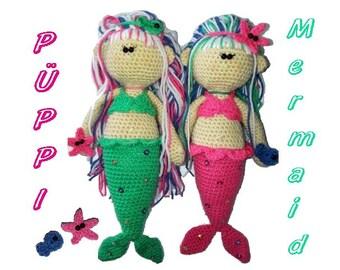 CROCHET PATTERN in English * PüPPi MermaiD * crochet doll, instant download, pdf-datei in german, crochet amigurumi doll