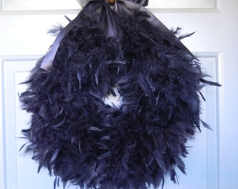 Black Feather Wreath 21'' (Other Colors and Sizes Available) Great for Halloween