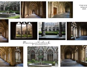 Digital background Beauty and the Beast Church castle garden