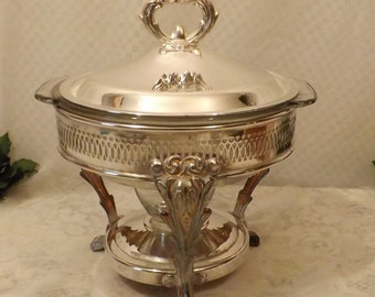 Vintage Silver Plate Chafing Dish Buffet Server w Casserole Dish