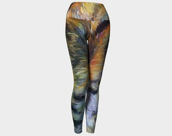 """Adorable Colorful women's leggings from PastelArt """"Catnip"""" Yoga tights gift"""