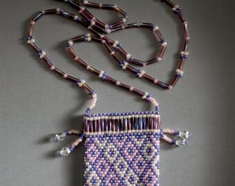 Amulet bag - pink, pearl & mauve