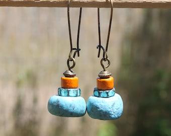 Blue earrings Boho Earrings Bohemian Earrings Jewelry Dangle drop Ethnic Earrings Gift for women Gift for her