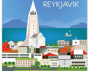 SALE Reykjavik Print, Iceland Vertical print, Iceland  Art, Reykjavik Wall Art, Iceland Print, Loose Petals City Print style W-8-REY