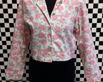 Pink Crop Jacket with floral  Design - medium