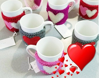 Valentine's Mug with  Crocheted Cozy with Heart Under fifteen dollars Gift
