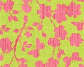 Green and pink Moda fabric by the yard - pink floral fabric - #16076