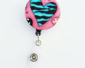 Retactable ID Badge Reel / ID Badge Holder / Name Badge Clip / Badge Pull / Nurse Badge Reel / Retractable Badge Holder - Teal tiger heart