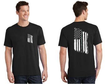Tattered American Flag Thin Silver Line Corrections Officer Short Sleeve Shirt