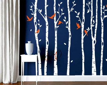 Nursery wall decals, nature wall decals, vinyl wall decal, birch tree wall decal stickers, flying birds, Interior Designs-DK344