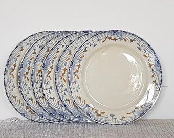 6 Assiettes plates anciennes bleues et jaunes Creil et Montereau Labrador Service Royan assiettes en faïence vintage made in France