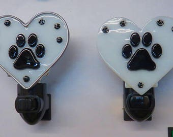 I Love PAWS - Paw Print Nightlights - 2 Versions on Hearts - Fused Glass Paw Print Nightlights