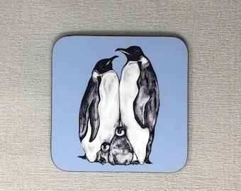 Hand Drawn Penguin Family Coaster - Blue - Penguin Gift - Drinks Mat