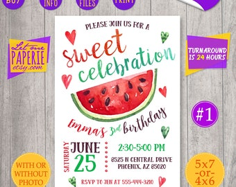 Watermelon Invitation, Sweet celebration, One in a Melon Invitation, Watermelon Birthday Invitation, Watermelon Party, 1st, 2nd 3rd birthday